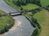 Aerial shot of Dalguise at the Bridge Pool, car park and the hut (hidden under the trees)