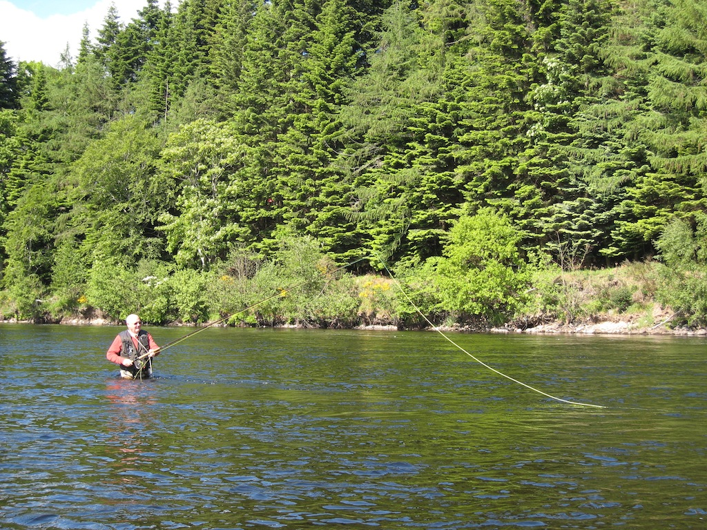 Donald Skene fly fishing at Tail of Island