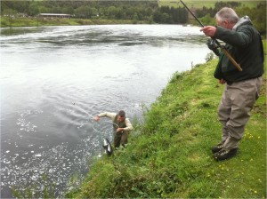 Donald's Salmon safely netted by Colin